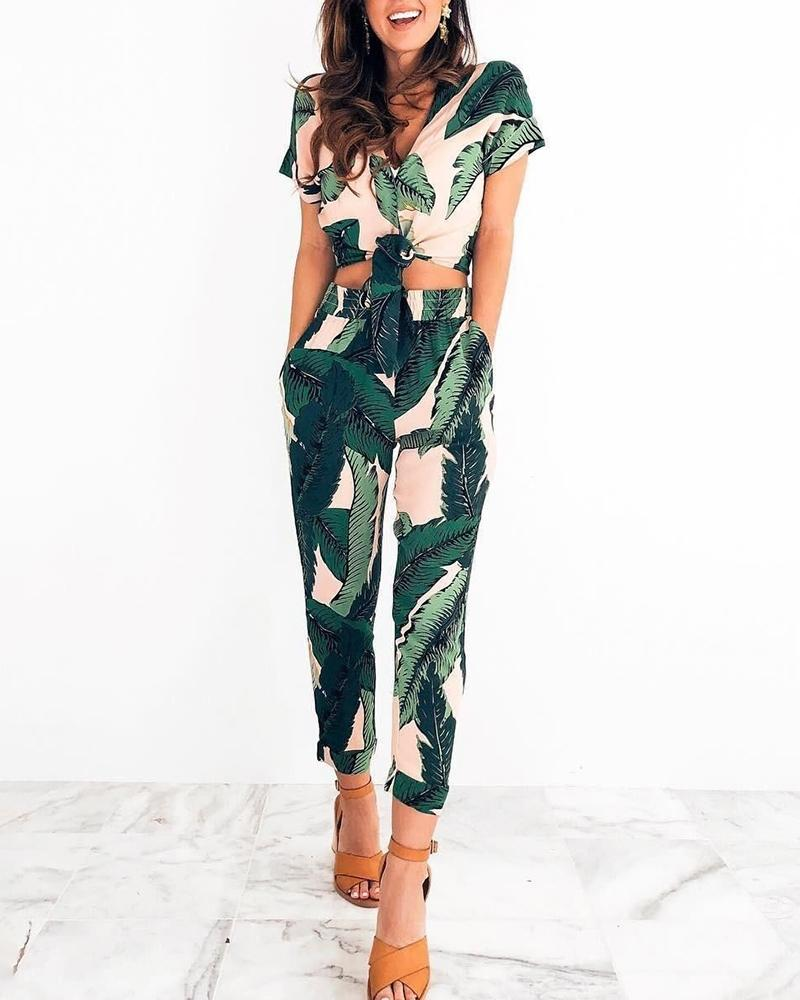 Tropical Print Knotted Top With Pants Set