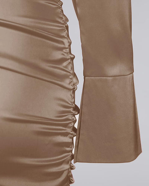 High Neck Ruched Satin Dress