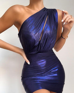 One Shoulder Ruched Cutout Bodycon Dress