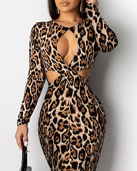 Round Neck Cut Out Waist Leopard Bodycon Dress