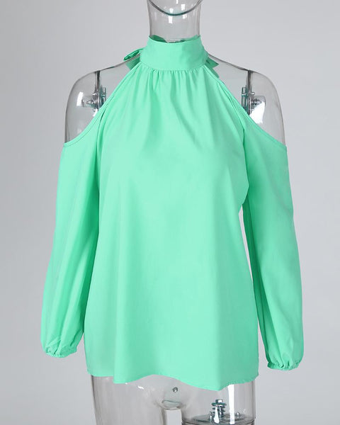 Cold Shoulder Lantern Sleeve Casual Blouse