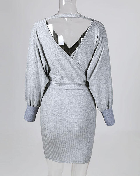 Solid Ribbed Tied Waist Long Sleeve Dress