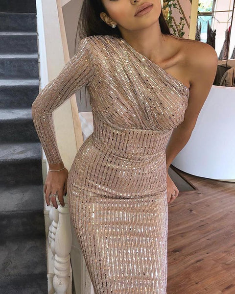 Glitter One Shoulder Ruched Sequins Dress