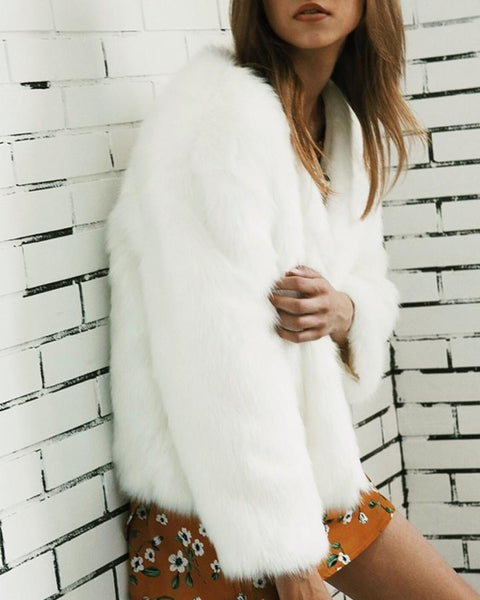 Plus Size Fluffy Open Front Fur Coat