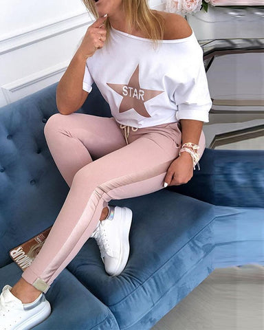 Star Print Top & Drawstring Design Pant Sets