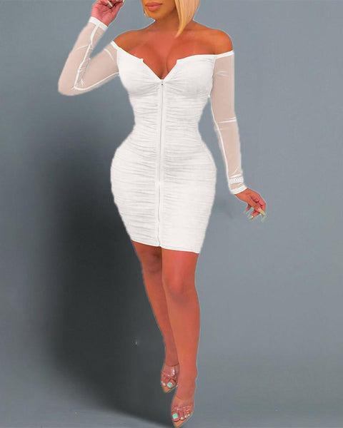 Off Shoulder Ruched Bodycon Dress