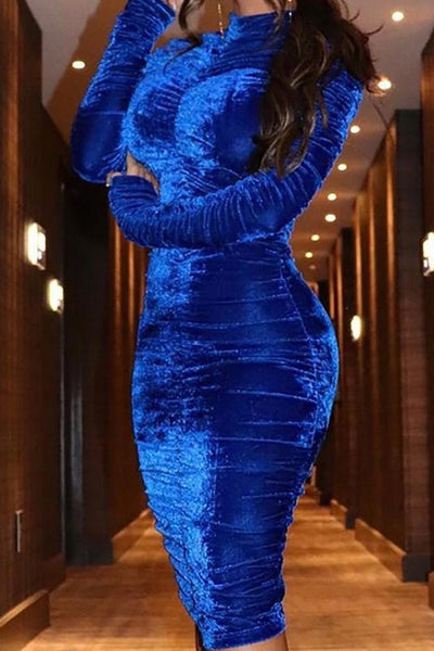 Velvet Mock Neck Ruched Bodycon Dress