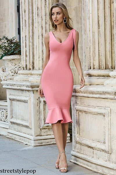 Fishtail Evening Dress Lady Sexy Elegant Host Medium Length Slim Knit Dress