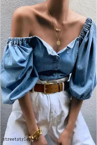 Off Shoulder Lantern Sleeve Denim Shirts
