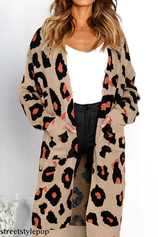 Autumn Pullover Women's Sweater Colorblock Female Warm Sweater Winter Knitted Long-sleeved Leopard Cardigan