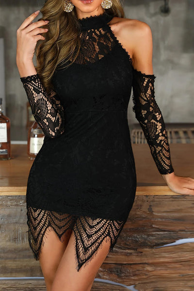 Eyelash Lace Cutout Shoulder Bodycon Dress