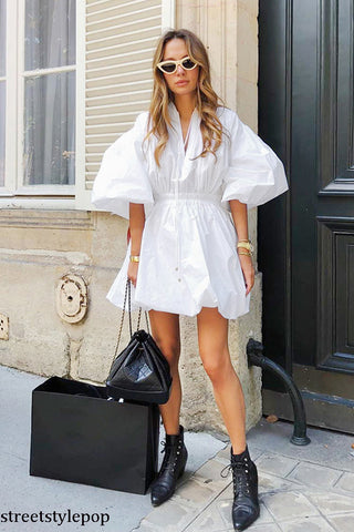 Spring and Summer Five-sleeve White Dress French Bubble Cuff Waist Skirt A Dress