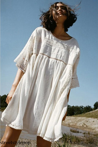 Femme Mujer Boho Fairy Embroidery Mini O-neck Lace White Chic Loose Casual Summer Dress Hippie Robes