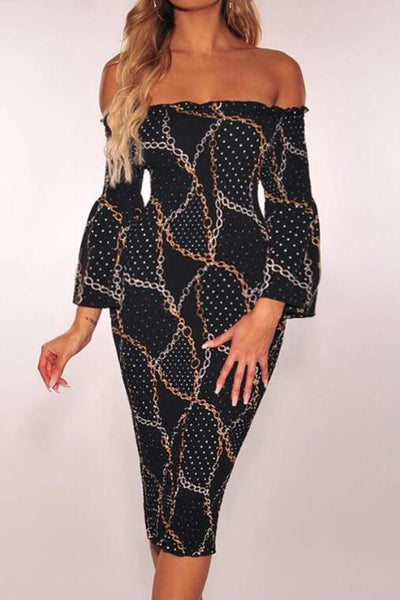Chains Print Off Shoulder Midi Dress