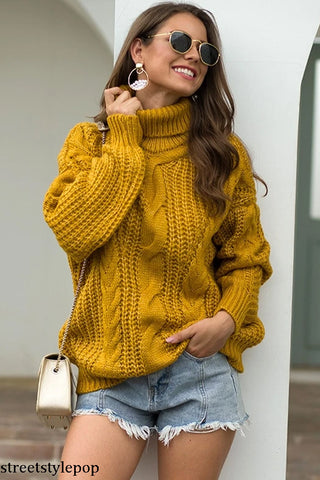 Autumn and Winter New knit sweater Women's Turtleneck sweaters Pullover oversized sweater Thick women sweater