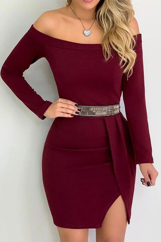 Off Shoulder Long Sleeve Slit Bodycon Dress(Without Belt)
