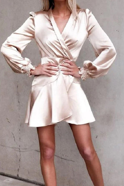 Embellished Cuff Satin Wrap MiniDress