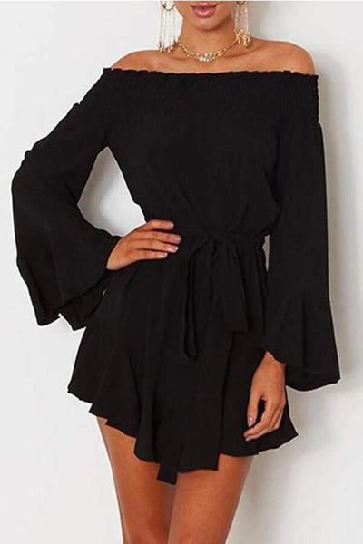 Fashion Plain Off Shoulder Long Sleeve Mini   Dress