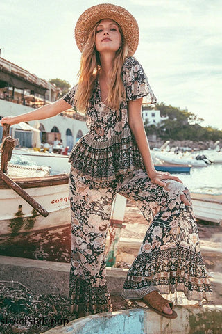 Spring / Summer Beach Resort Bohemian V-neck Loose Two Piece Set Short Sleeve Top Long Pants Set