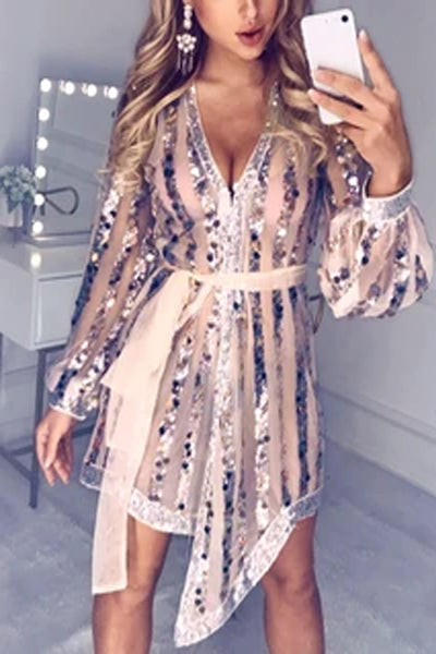 Glitter Plunge Sequins Sheer Mesh Lantern Sleeve Dress