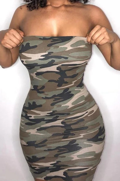 Tube Camo Print Bodycon Mini Dress