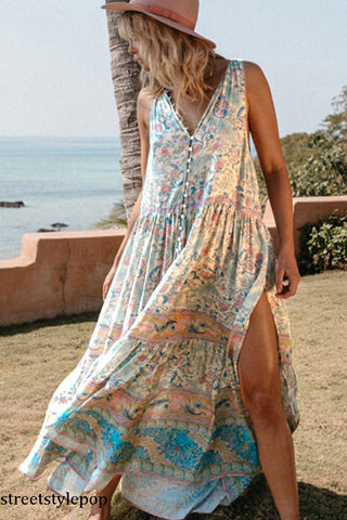 Chiffon Beach Holiday Casual Dress Printed V-neck Bohemian Long Skirt