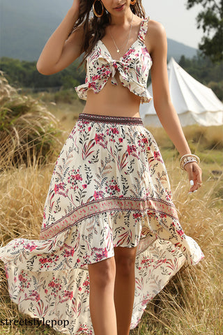 Spring / Summer Beach Vacation Top + Skirt Bohemian Women's Two Piece Set