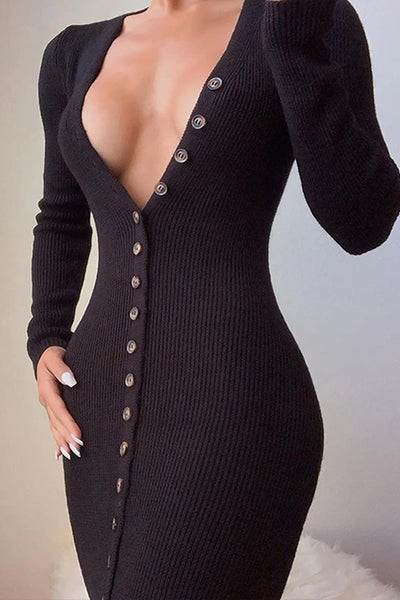 Deep V Neck Black Button-Up Dress