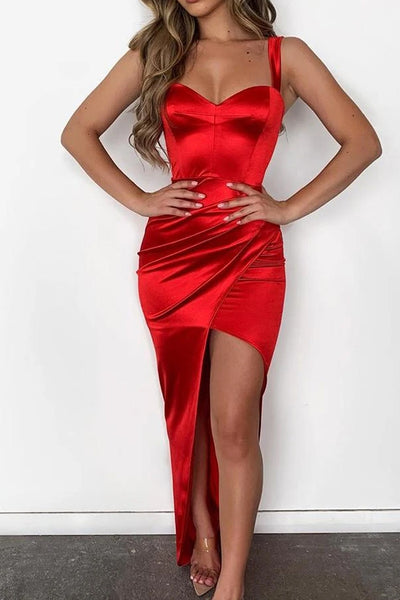 Solid Thin Strap Sweetheart Neck Ruched Slit Dress