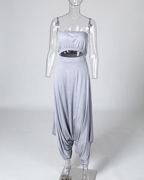 Solid Straight Across Top & Harem Pants Sets