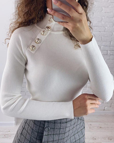 Solid High Neck Oblique Placket Buttoned Ribbed Blouse