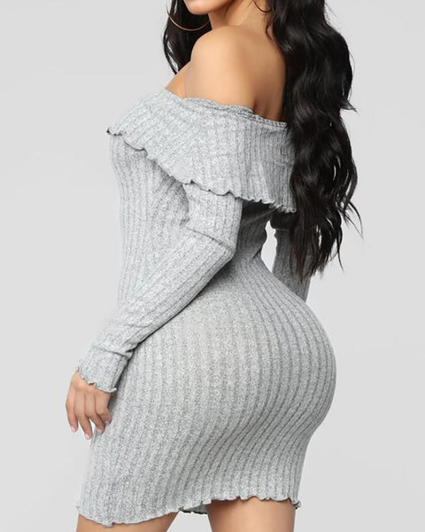 Solid Off Shoulder Fold-Over Long Sleeve Mini Dress