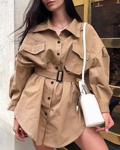 Solid Long Sleeve Buttoned Pocket Coat