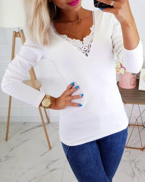 Solid Lace Patchwork Long Sleeve Casual Blouse