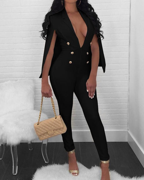 Deep V Neck Cape Design Blazer Jumpsuit