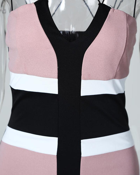 Colorblock Insert Crisscross Strap Bodycon Dress