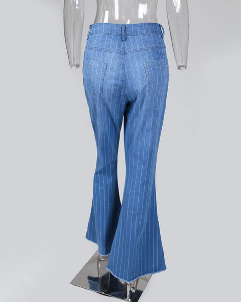 Denim Striped Fringe Bell-Bottom Pants