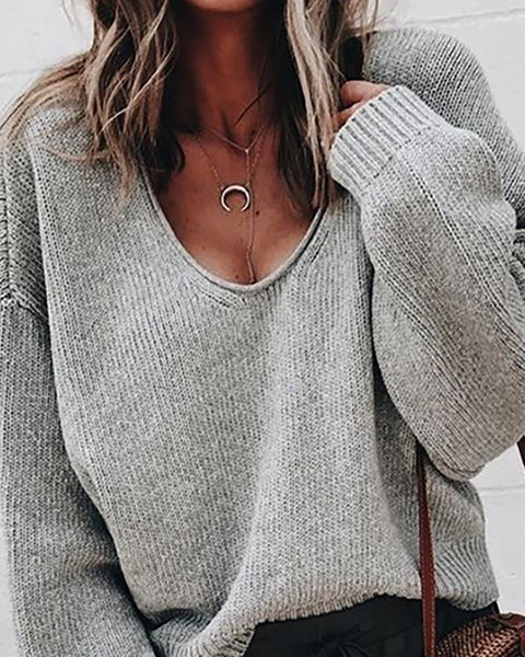 Solid Long Sleeve V-Neck Casual Sweater