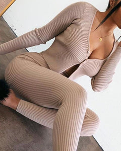 Solid Ribbed Bodycon Top & Pants