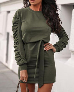 Solid Tied Waist Long Sleeve Ruched Dress