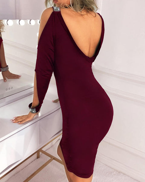 Cut Out Sleeve Glitter Splicing Bodycon Dress