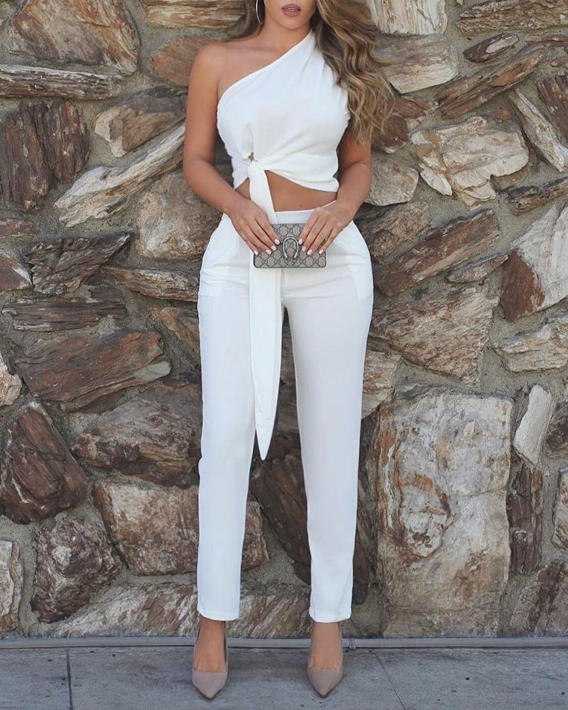 One Shoulder Ruched Knot Top & Pant Sets
