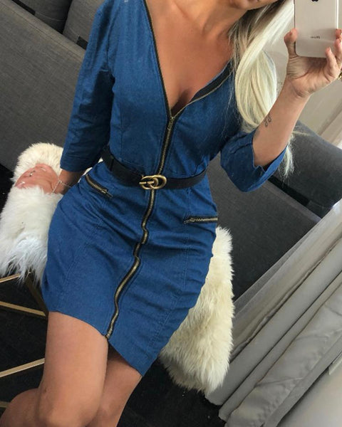Zipper Design V neck Slinky Denim Dress