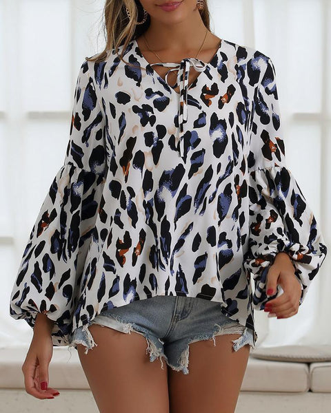 Leopard Lantern Sleeve Tied Neck Blouse