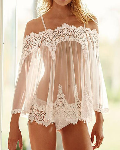Off Shoulder Eyelash Lace Trim Babydoll Lingerie