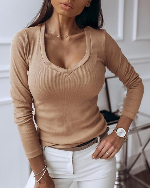 Solid V-Neck Long Sleeve Casual Blouse