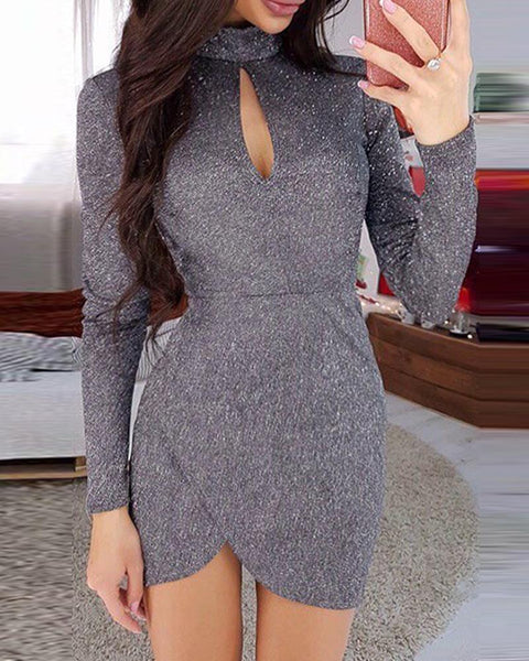 Embellished Keyhole Bodycon Mini Dress