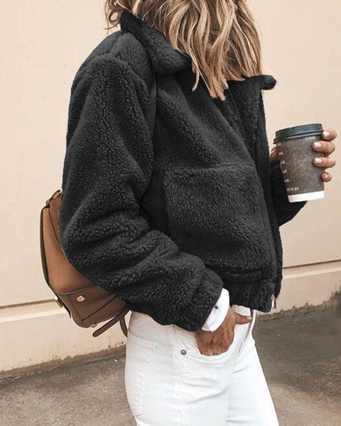 Solid Turn-down Collar Pocket Fluffy Coat