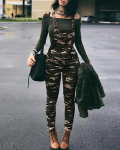 Stylish Camouflage Pocket Front Overalls