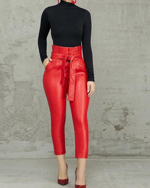 Paperbag High Waist Belted PU Pants